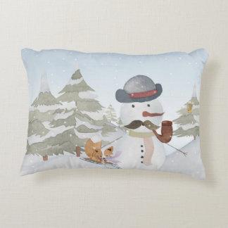 Winter Snowman animal snow animal illustration Accent Pillow
