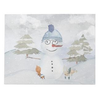 Winter Snowman animal snow animal illustration Notepad