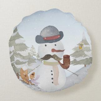 Winter Snowman animal snow animal illustration Round Pillow