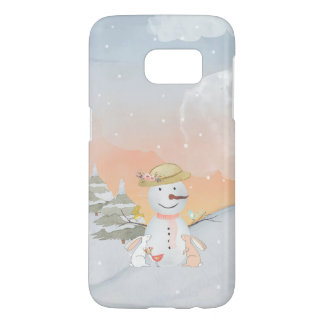 Winter Snowman animal snow animal illustration Samsung Galaxy S7 Case