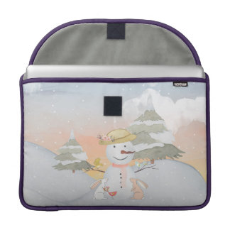 Winter Snowman animal snow animal illustration Sleeve For MacBook Pro