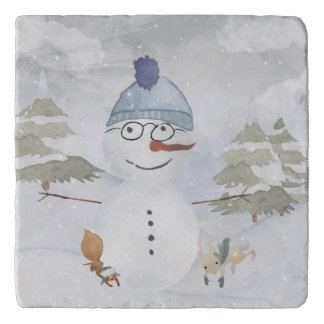 Winter Snowman animal snow animal illustration Trivet