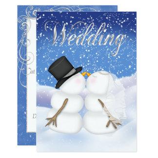 Winter Snowman Bride & Groom Invitation