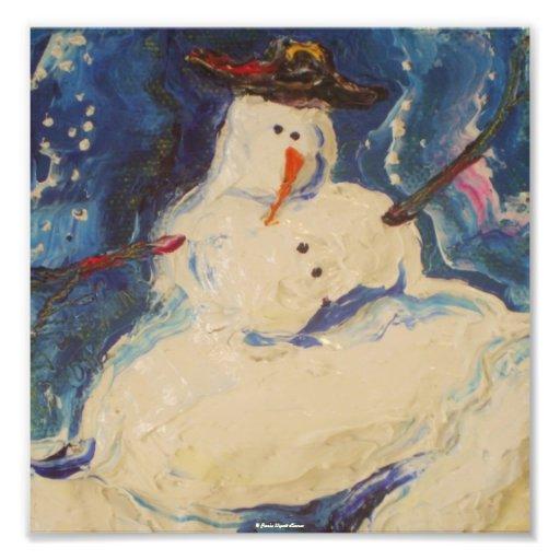 Winter Snowman Christmas Fine Art Poster Art Photo