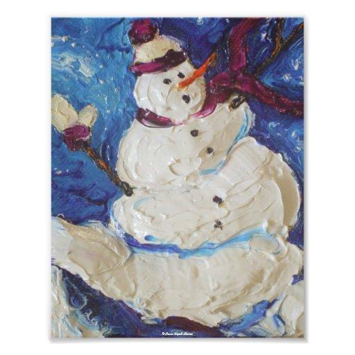 Winter Snowman Christmas Fine Art Poster Photo