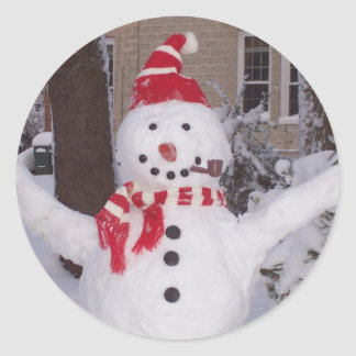 Winter Snowman Classic Round Sticker
