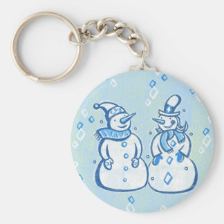 Winter Snowman Couple Keychain