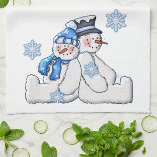 Winter Snowman Couple Kitchen Towels