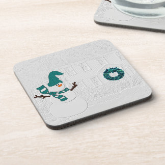 Winter Snowman for Seasonal Decor White and Teal Coaster