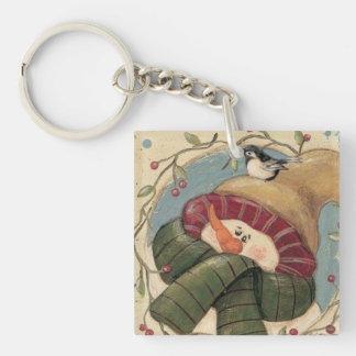 Winter Snowman Holly Berries & Bird Keychain