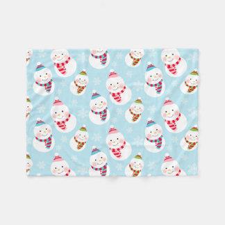 Winter Snowman Pattern | Holiday Fleece Blanket