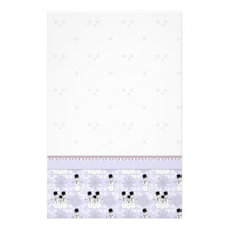 Winter Snowman Pattern With Border Stationery Design