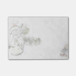 Winter Snowman & Pinecone Holiday Post-it® Notes