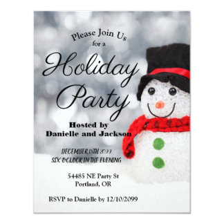 Winter Snowman w Top Hat Holiday Party Card