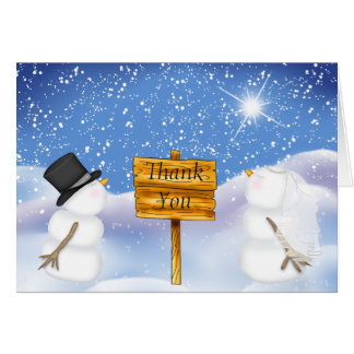 Winter Snowman Wedding Photo Thank You Card
