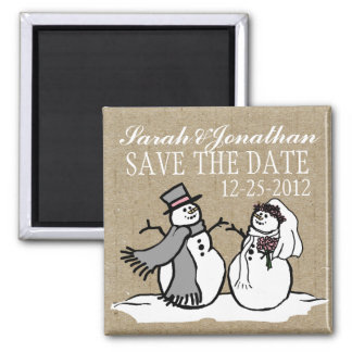 Winter Snowmen Bride & Groom Save The Date Magnet