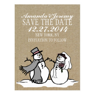 Winter Snowmen Bride & Groom Save The Date Postcard