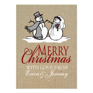 Winter Snowmen Bride Groom Wedding Custom Invitations