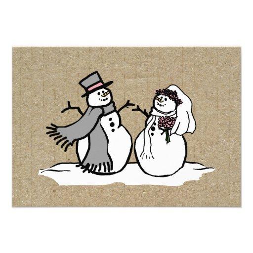 Winter Snowmen Bride & Groom Wedding RSVP Personalized Invites