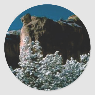 winter snows in the desert classic round sticker