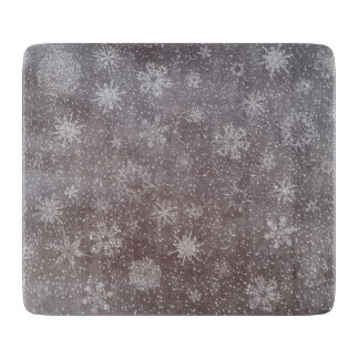 Winter snowy dark day background - 3D render Cutting Board