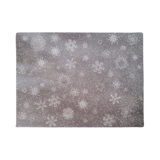 Winter snowy dark day background - 3D render Doormat