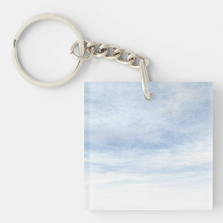 Winter snowy day background - 3D render Double-Sided Square Acrylic Keychain