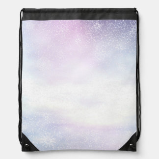 Winter snowy day background - 3D render Drawstring Bag