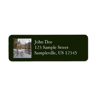 Winter Snowy Mountain Scene in Montana Return Address Label