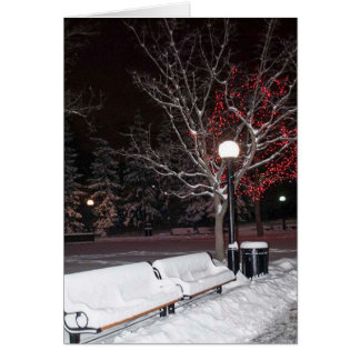 Winter Snowy Park Bench Card