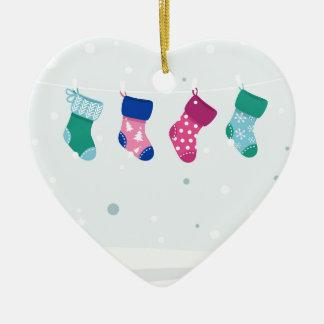 WINTER SOCKS handdrawn Illustrated edition Ceramic Heart Ornament