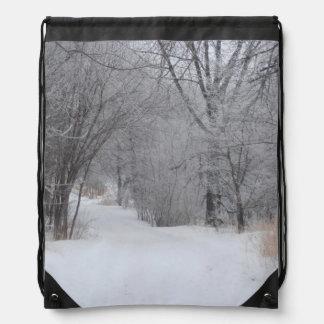 Winter Solitude Drawstring Bag