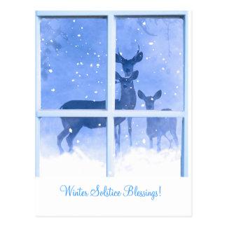 Winter Solstice Blessings Deer Postcard