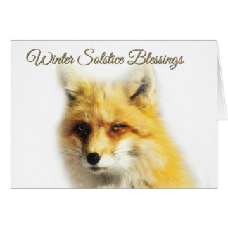 Winter Solstice Blessings Fox and Snow Card
