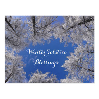 Winter Solstice Blessings Winter Trees and Sky Postcard