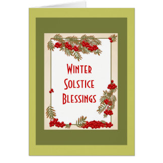 Winter Solstice blessings with rowan red berries Card