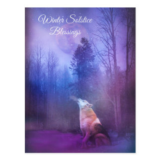 Winter Solstice Blessings Wolf and Snow Postcard
