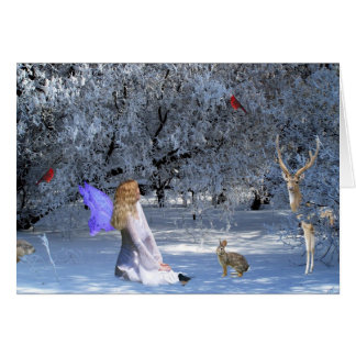 Winter Solstice Faerie with Animals in the Snow Card
