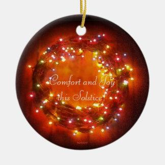 Winter Solstice Faery Lights Wreath Ceramic Ornament