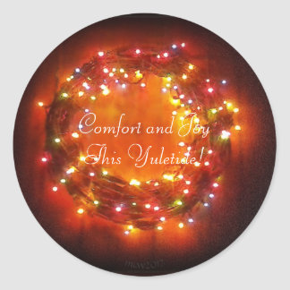 Winter Solstice Faery Lights Wreath Classic Round Sticker