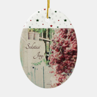 Winter Solstice Joy December Berries Ceramic Ornament