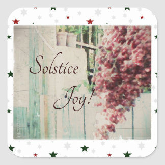 Winter Solstice Joy December Berries Square Sticker