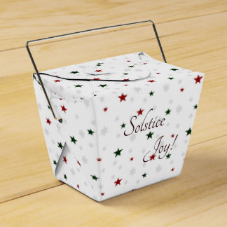 Winter Solstice Joy Red and Green Stars Favor Box