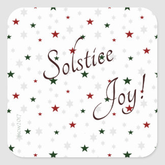 Winter Solstice Joy Red and Green Stars Square Sticker