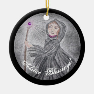 Winter Solstice Snow Maker Witch Pagan Ceramic Ornament