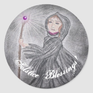 Winter Solstice Snow Maker Witch Pagan Classic Round Sticker