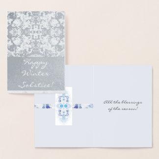 Winter Solstice Snowy Scene Yule Foil Card
