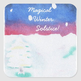 Winter Solstice Snowy Scene Yule Square Sticker