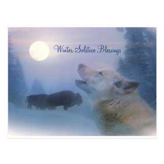 Winter Solstice Wolf & Buffalo Blessings Postcard