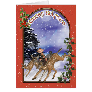 Winter Solstice Woodland Elf Riding A Fawn Card